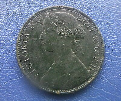 1863  Victoria  Penny Coin. Nice Detail. Green Black Patina