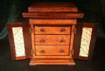 Top Quality Early Victorian C1840 Ladies Burr Walnut Jewellery Table Cabinet