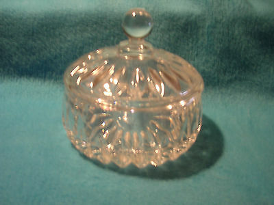 Candy Dish with Lid, Clear with Etchings and Knobbed Handle on Lid