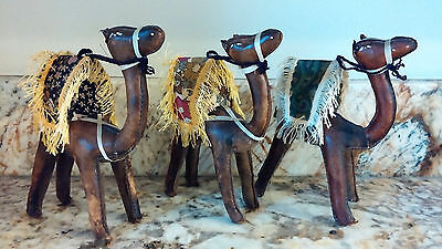 "Vintage Hand Stitched Leather Camel Figurines  7"" Egypt"