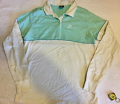 NIKE 1984-1988 Mint Green & White Button Up Polo Long Sleeve Sz Large
