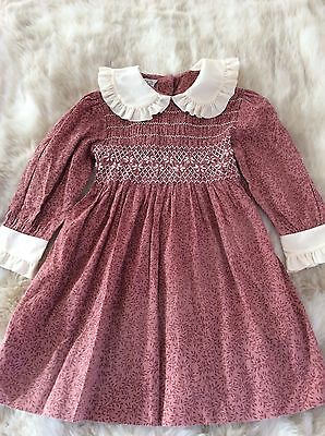 Pretty Vintage Child's Hand Smocked Dress By Polly Flinders/Ladybird. Age 4.