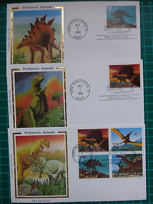"""'PREHISTORIC ANIMALS'  SET of 5 FIRST DAY COVER''s  COLORANO """"SILK"""" CACHET"""