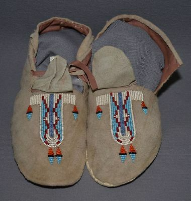 "Vintage Native American Childs moccasins Plains 8"" long 30's -40's"