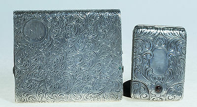 .925 Sterling Silver Cigarette Case & Match Case Beautiful Detail W/ Stone
