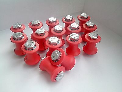 A set of 16 pieces. Bobbin tama to work in Japanese Kumihimo technique. red.