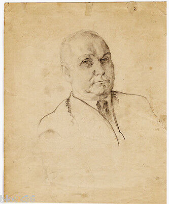 1920's MAN'S PORTRAIT drawing by Russian artist S.Pichugin (page from the album)