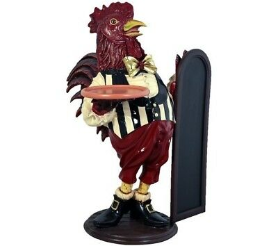 Rooster Butler Statue - Fantastic Rooster w - Menu Board n Tray Display - Free S