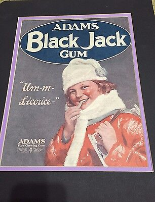 1920's Vintage Adams Black Jack Gum Matted Advertisment