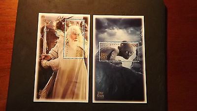 New Zealand Stamps 2 mini sheets Lord of the Rings mint unused stamps $2 & $1.50