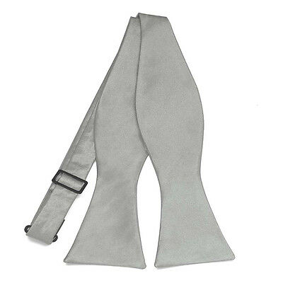 "New Men""s Grey Satin Self Tie Bowtie Tuxedo Formal Wedding Gray Groom Style"