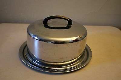 Vintage Everedy Co. Silver Chrome Cake Carrier W/ Locking Lid