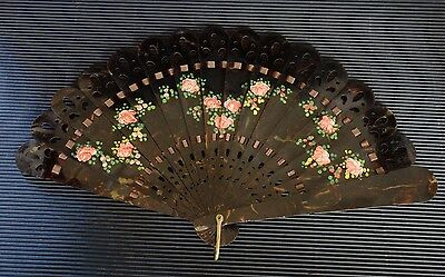 Rare Vintage Antique Japanese Hand Painted On A Real Turtle Shell Ladies Fan