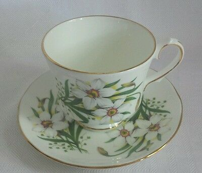 Royal Winchester Bone China Tea Cup and Saucer Narcissus/Daffodil Gold Trim