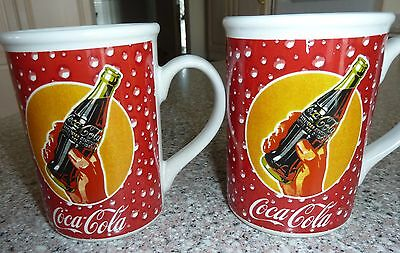 Two (2) Coca Cola Mugs, Cups Droplets, GIBSON