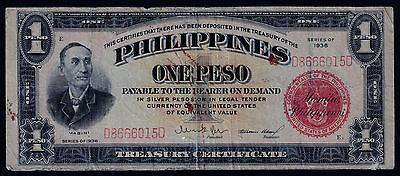 1936 (ONE PESO ) VICTORY (SILVER CERTIFICATE) RED (PHILIPPINES- US) **Wartime