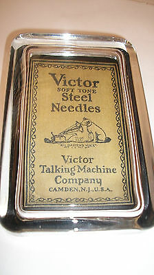 RCA Nipper Phonograph Record Logo Needle Blue Advertising Sign Glass Paperweight
