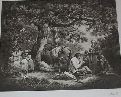 1800's  Art Engraving THE TRAVELLERS  Antique Print 20 % off