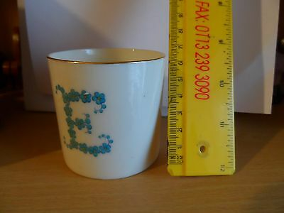 crested china goss cup letter E made of flowers forget me knots