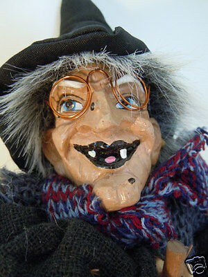 """Witch Doll Halloween 16"""" tall Eyeglasses primitive puppet FREE ECONOMY SHIPPING"""