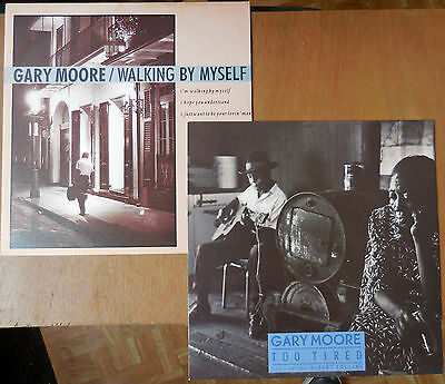 """Gary Moore - Two 12"""" Singles """"too Tired"""" & """"walking By Myself"""" - Both Mint Cond."""