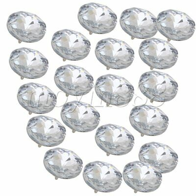 20pcs 25mm Diamond Clear Crystal Charm Upholstery Sofa Headboard Sew Buttons