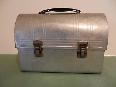 Vintage Aluminum Metal Dome Top Lunch Box with Handle No Thermos