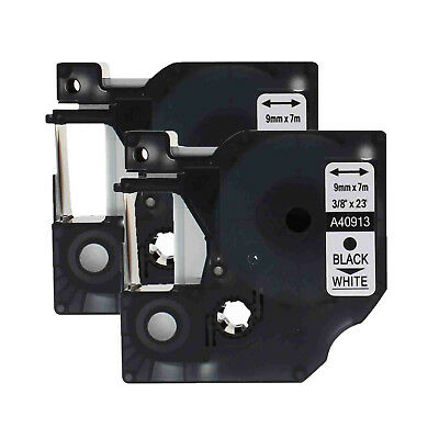 """2PK 3/8""""*23ft Black on White label tape For Dymo D1 40913 LabelManager PC PC II"""