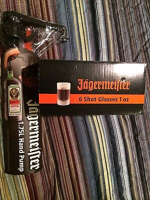 JAGERMEISTER FROSTED SHOT GLASSES SET OF 4 And 1.75 PUMP !