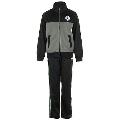Converse Boy's Tricot Zip Tracksuit in black size 4-5yrs (104-110cm)