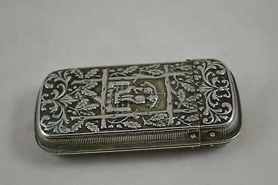 Silver Match Safe Art Nouveau Edwardian Antique with Matches