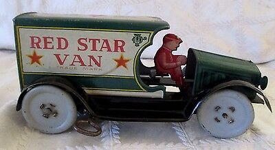 """1925 Strauss Wind- Up- Red Star Van Tin Litho Toy-7.5"""" Works- W Driver -Vintage"""