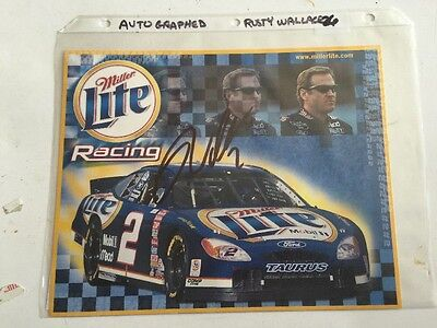 Autographed Rusty Wallace #2 Ford Signed 8x10 Hero Card w/COA