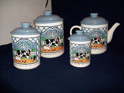 8 Piece Ceramic Canister Set  Country white and blue with blue lids
