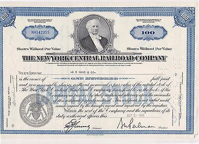 New York Central Railroad Stock Certificate  (Ic)