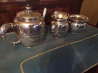 Wood & Hughes Aesthetic Asian New York Sterling Silver 3 Piece Tea Coffee set