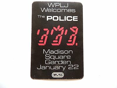 """""""The Police"""" WPLJ 95.5 Concert Sticker Jan. 22nd, 1982 Mint/ How Cool Is This!!!"""