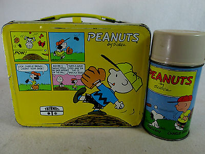 Vintage baseball themed Peanuts Charlie Brown metal lunch box and Thermos
