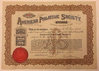 1920 AMERICAN PHILATELIC SOCIETY Stock Certificate RARE Signed by Carroll Chase