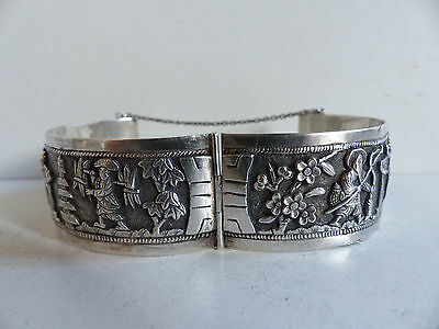 ANTIQUE CHINESE STERLING SILVER BANGLE BRACELET w. FIGURES MARKED