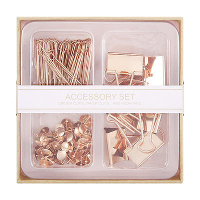 Home ROSE GOLD ACCESSORY SET Attractive Binder Clips, Paper Clips, Push Pins