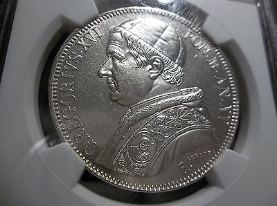 NGC Papal States 1845 R Catholic Italy Scudo MS 62, Rare Pop-2 Collectable