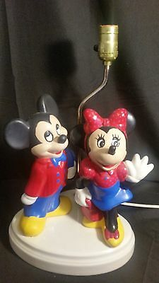 RARE Vintage Mickey & Minnie Mouse Ceramic Lamp HANDPAINTED Table DISNEY