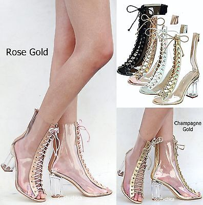 dc027a38576 NEW WOMEN FC45 Rose Gold Peep Toe Lucite Clear Heel Lace Up Booties Ankle  Boots