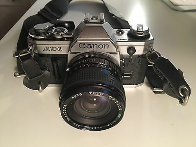 Canon AE-1 Program 35mm SLR Film Camera with 28 mm lens Kit