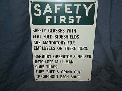 Vintage Safety First Industrial Factory Porcelain Sign Safety Glasses NEAT