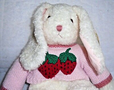 CURLY White Bunny Strawberry Sweater Lg Tag MWNMHT Ty Classic Plush + FREE Gift