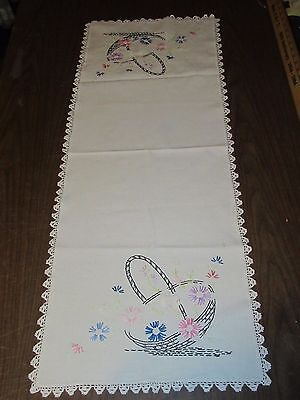 """Vintage Hand Embroidered & Crochet Table Runner -Basket of Flowers- 15.5"""" x 40"""""""