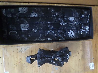 Stanley Blacker Silk Cummerbund Tie Set - Bow Tie Adjustable - Black Dice