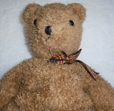 Vtg 1990 CURLY Brown Bear Korea Tag NHT Ty Classic Plush Stuffed Toy + FREE Gift